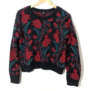 H&M | Black & Floral Print Crew neck Sweater